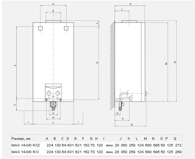 Схема, размеры Vaillant MAG OE