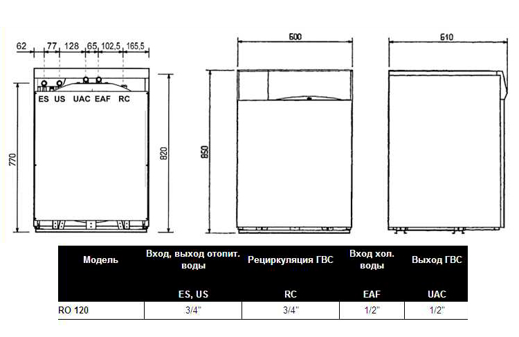 Схема, размеры Beretta RO 120