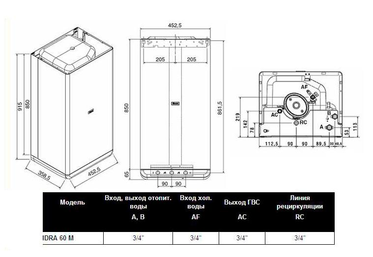 Схема, размеры Beretta IDRA 60 M