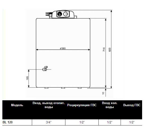 Схема, размеры Beretta BL 120