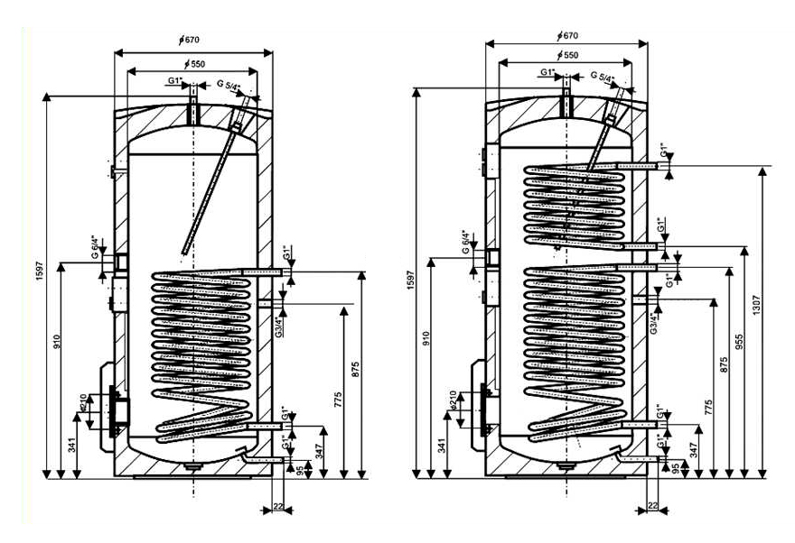 Схема, размеры Drazice OKC 300