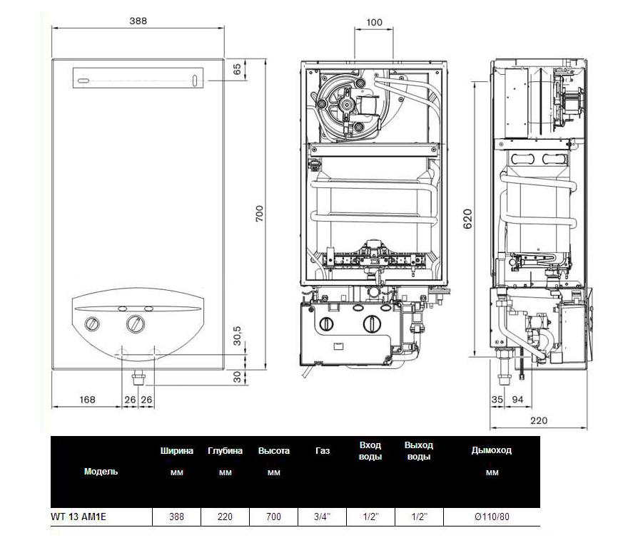 Схема, размеры Bosch Therm