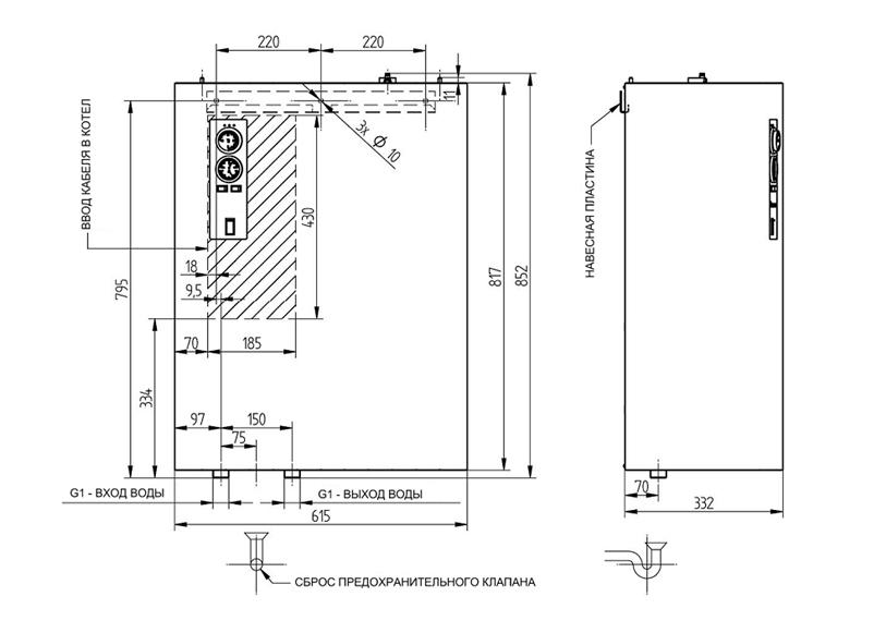 Схема, размеры Bosch Tronic 5000 H 60kW